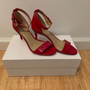 Authentic Michael Kors red leather scrappy heels